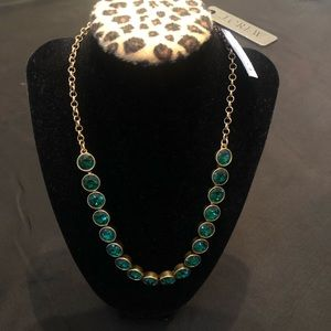 J.Crew Statement Necklace Gold With Teal Stone NWT